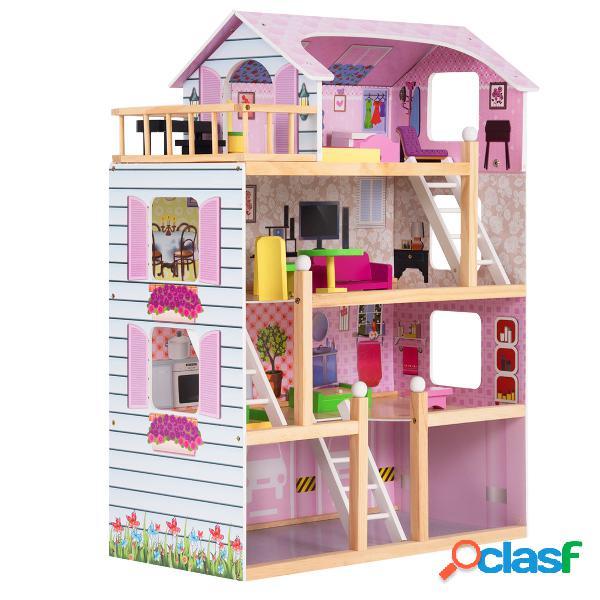 Costway maison de poupées en bois 4 etages couleur rose