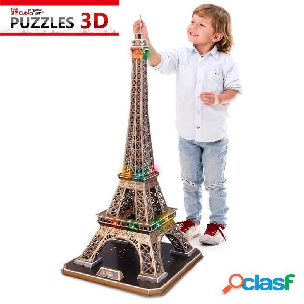 Puzzle 3d avec led - la tour eiffel - difficulté: 6/8 cubic fun