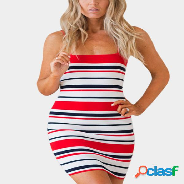 Red adjustable shoulder straps stripe sleeveless high-waisted dresses