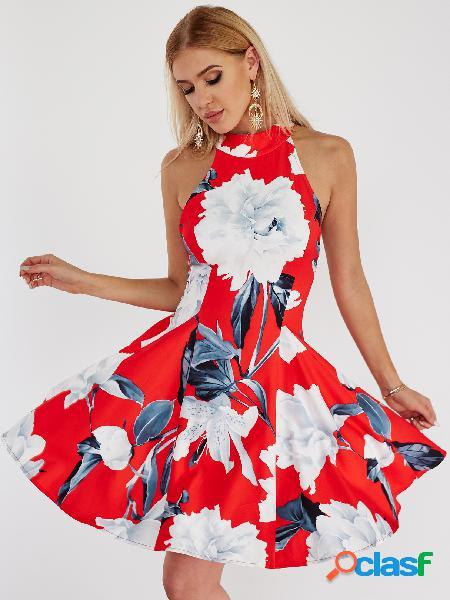 Red halter neck blackless floral skater dress