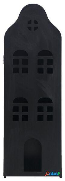 Hema maison de canal 24.5x25x75 bois noir tableau noir