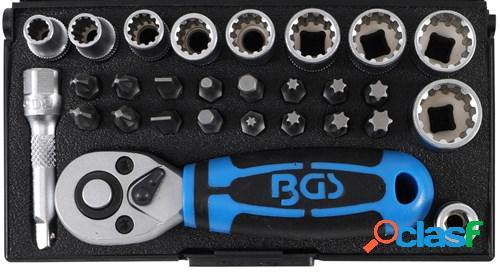 Bgs technic mini jeu de clés à douilles 1/4, 28-pièces, set et accessoires