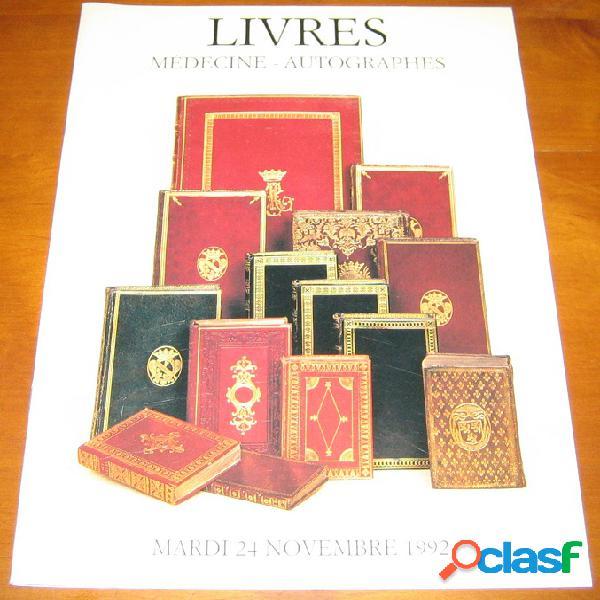 Livres médecines, bibliothèque otologique, science, autographes, livres anciens et romantiques, livres illustrés modernes