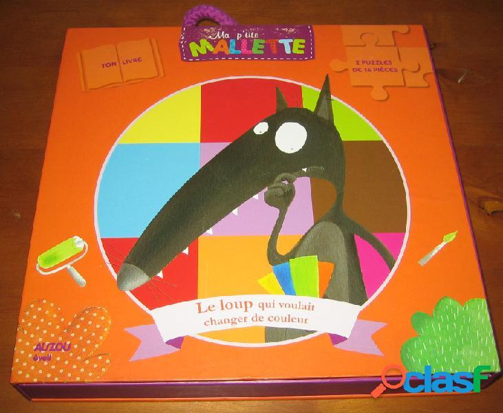 Ma p'tit mallette: le loup qui voulait changer de couleur (2 puzzles de 16 pièces + 1 livre), orianne lallemand et eléonore thuillier