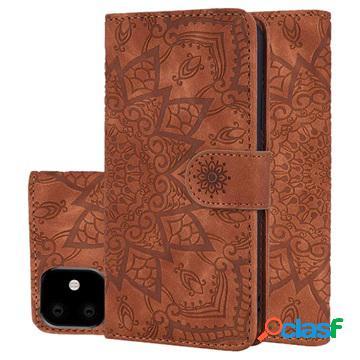 Étui portefeuille iphone 11 - série mandala - marron