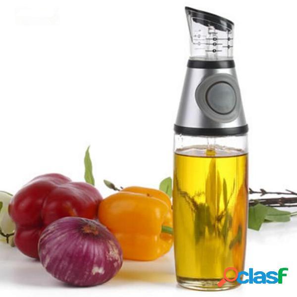 Bouteille verseur de distributeur de vinaigre d'huile d'olive en verre de cuisine de 500 ml avec bec sans goutte
