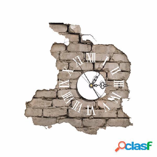 Pag sticker 3d horloge murale décalcomanies briser craquage autocollant mural maison décoration murale cadeau