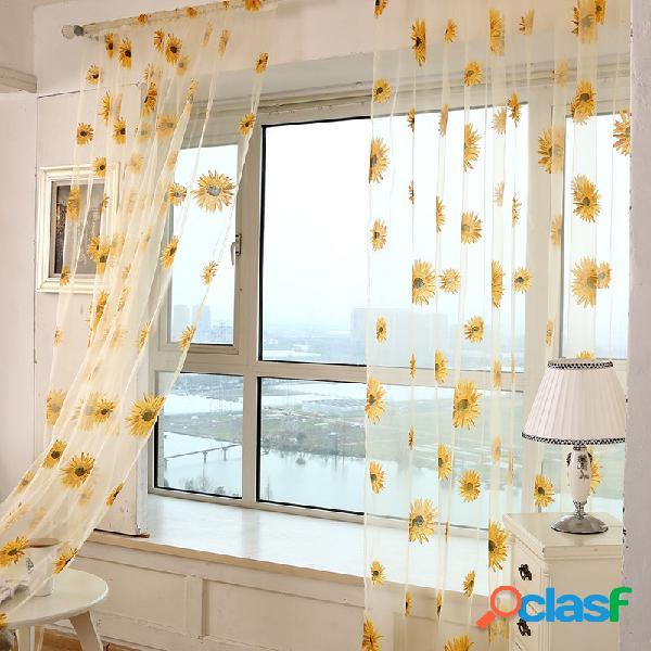 Sun flower voile curtain transparent panel window room divider sheer curtain home decor