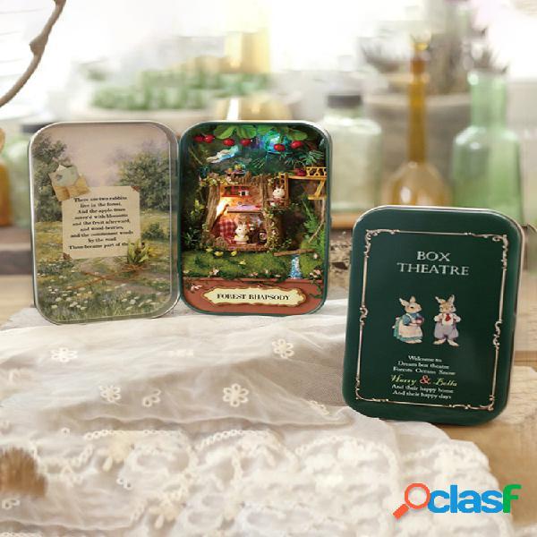 Maison de sagesse boîte théâtre bricolage assemblé à la main mini villa modèle bois bricolage cabine cadeau créatif
