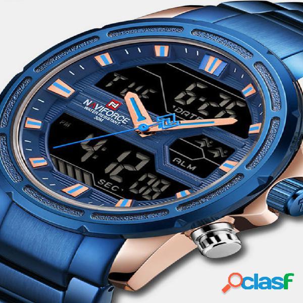 Led étanche double montre numérique montre-bracelet à quartz militaire lumineux pour hommes