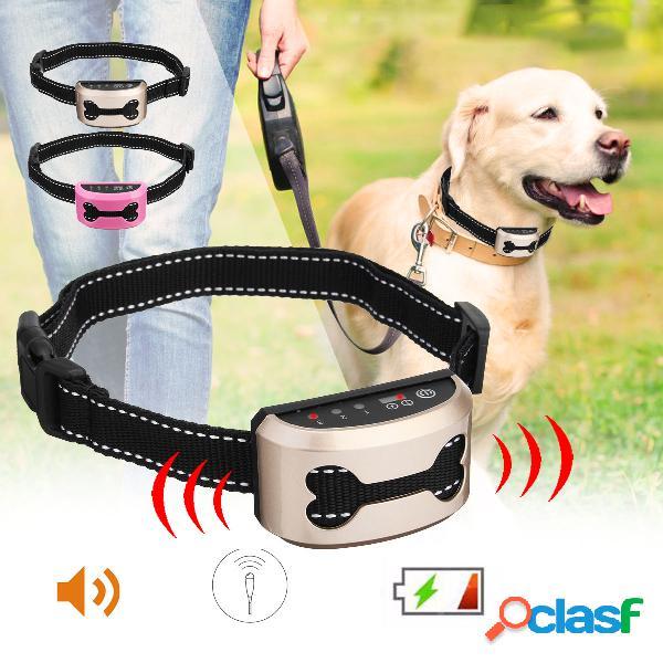 Chien de compagnie rechargeable anti-aboiement collier de contrôle train étanche arrêter d'aboyer chien étanche ultrasons formation colliers
