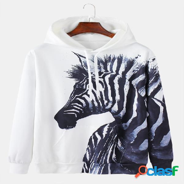 Hommes 3d zebra imprimer daily relaxed fit pull kangourou pocket hoodies