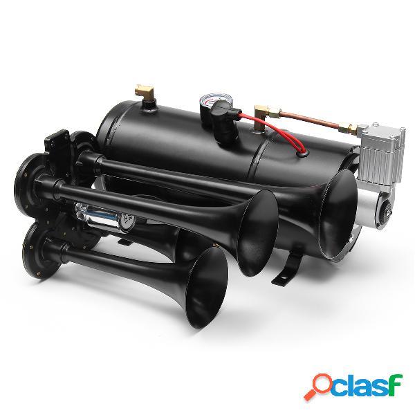 4 trompette air klaxon 170 psi tube de compresseur d'air 12v 150db train kit camion bateau