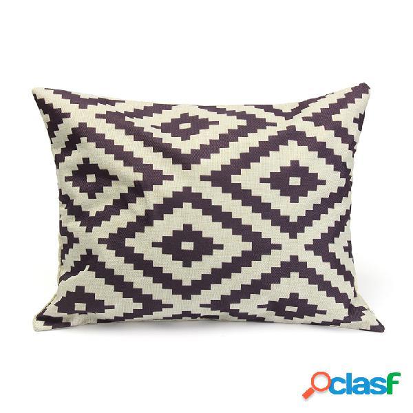 Coton lin géométrie taie d'oreiller coussin de bureau housse de canapé décor à la maison