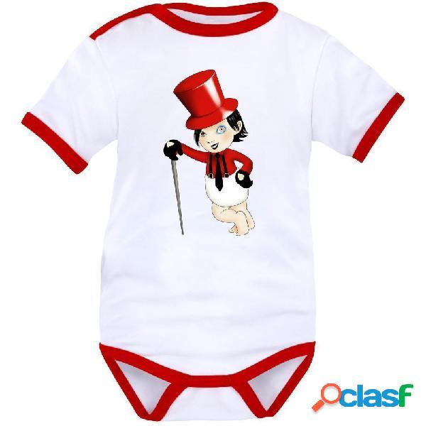 Body bébé original: petit MARYLIN MANSON - Blanc avec bords rouges Courtes 0-1 mois
