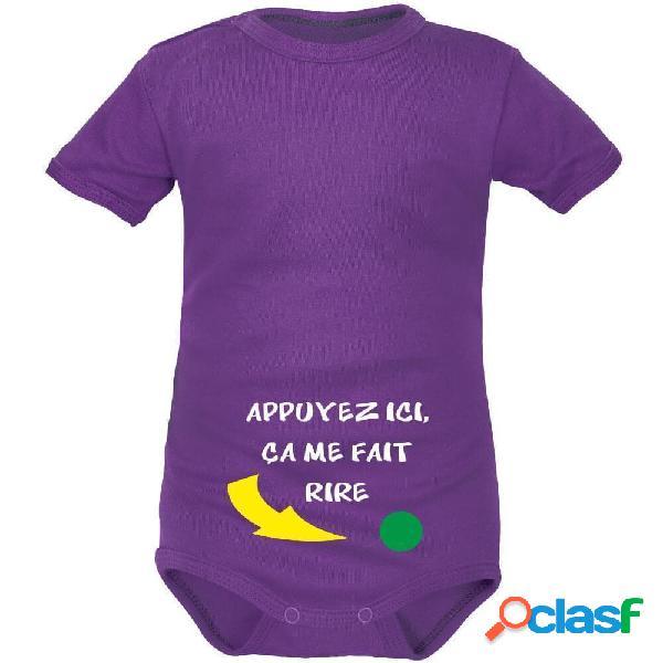 Body bébé rigolo: APPUYEZ ICI (8 couleurs) - Violet Courtes