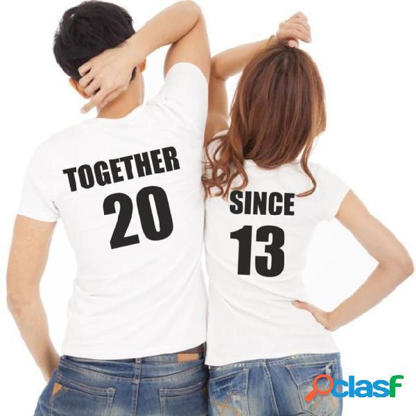 Lot de 2 T-shirts pour amoureux à personnaliser: TOGETHER SINCE...