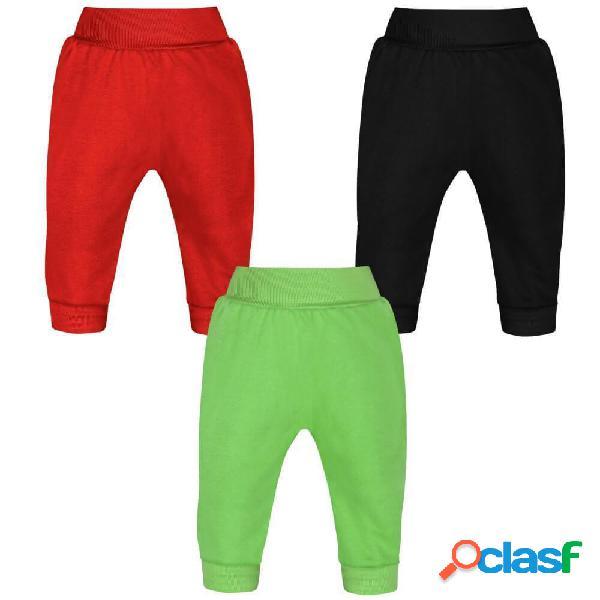 Lot de 3 Pantalons bébé unisexes (3 couleurs) - 2-9 mois