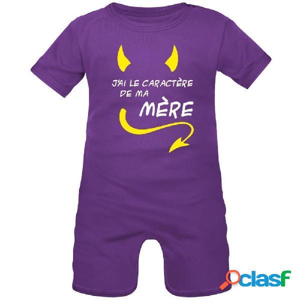 Barboteuse bébé avec impression: j'ai le caractère de ma mère - violet 0-1 mois