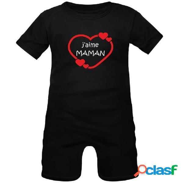 Barboteuse bébé avec impression: j'aime maman (8 couleurs) - noir 0-1 mois