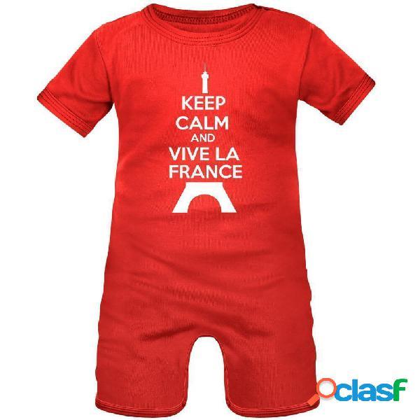 Barboteuse bébé avec impression: keep calm and vive la france - blanc avec bords rouges 0-1 mois