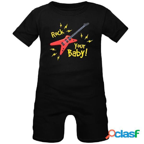Barboteuse bébé avec impression: rock your baby - rose 0-1 mois