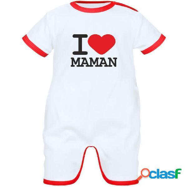 Barboteuse bébé avec inscription: i love maman - rose 0-1 mois