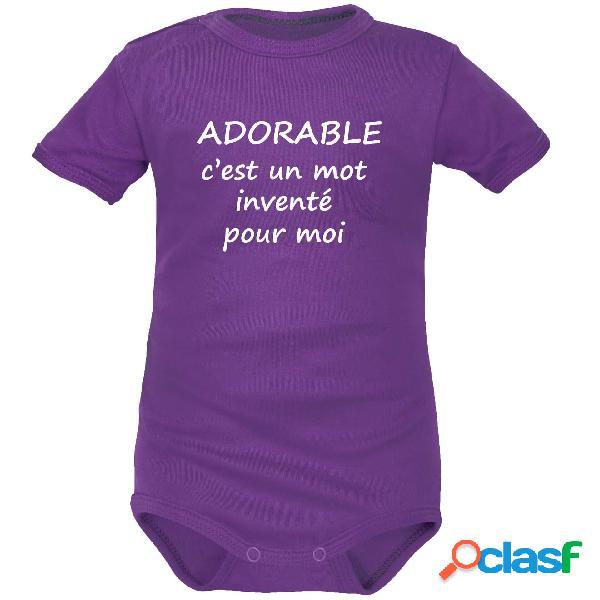 Body bébé message: ADORABLE c'est un mot inventé pour moi - Violet Courtes 0-1 mois