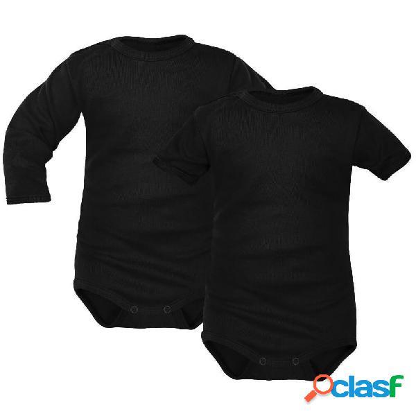 Body bébé noir manches courtes et longues (lot de 2) - 2-3 mois