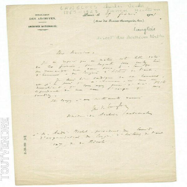 Lettre autographe signée charles victor langlois archives