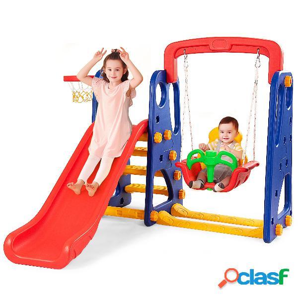 Costway toboggan enfants aire de jeux 3 en 1 avec balançoire portique panier de basketball escalade