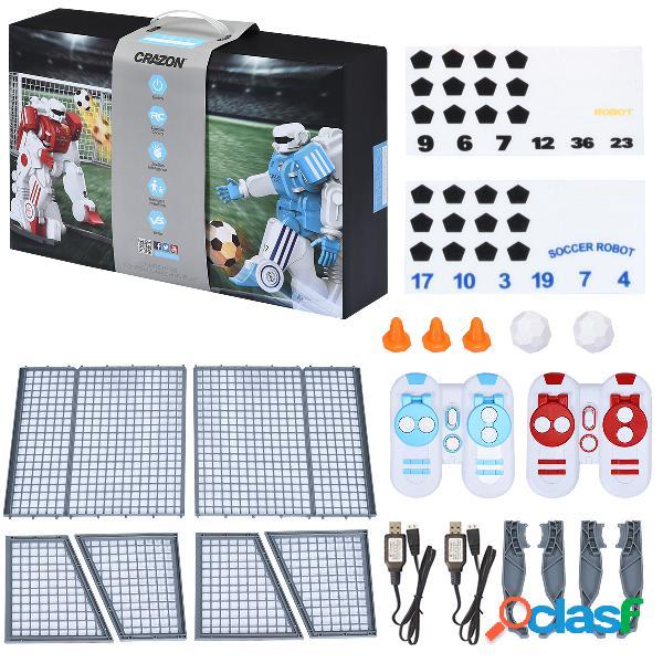 Costway 2 rc soccer robots jouets d'interaction parent-enfant compétitifs avec 2 buts football 2 recharges usb