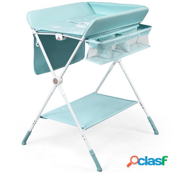 Costway table à langer pliante à roulettes pour bébé avec panier de rangement hauteur réglable en 3 positions gris