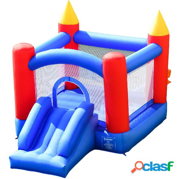 Costway aire de jeux gonflable pour 3 enfants avec zone de saut murs en maille des 4 côtés 3x2x2m charge max 50kg