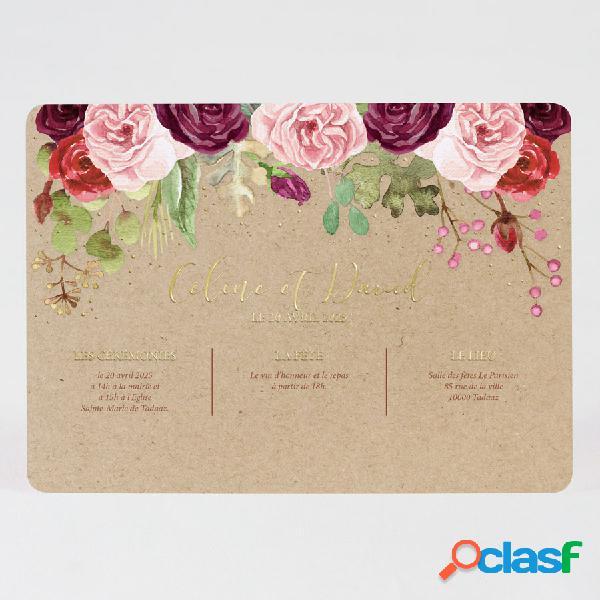 Annonce mariage boho roses aquarelles et dorure