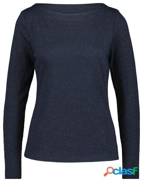 Hema t-shirt femme paillettes bleu foncé (bleu foncé)