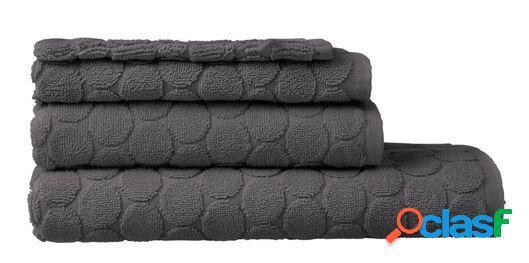 Hema serviettes de bain - qualité épaisse - à pois gris foncé (gris foncé)
