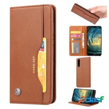 Étui portefeuille huawei p30 - série card set - marron