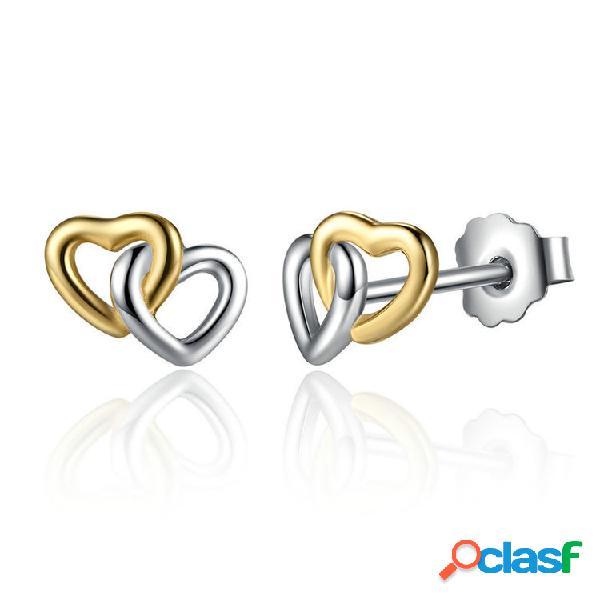 Classic dormeuses double coeur en argent sterling 925 avec boucles d'oreilles sweet heart anallergiques pour femmes