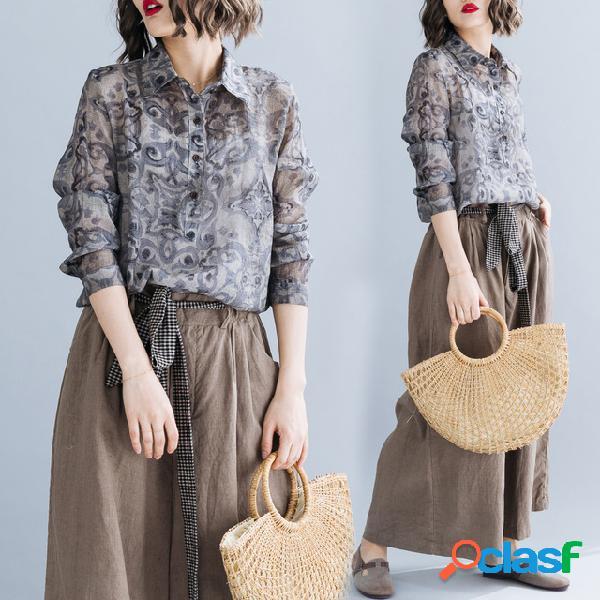 Nouveau coton littéraire et lin grande taille femmes 200 kg de chanvre tiansi en vrac casual shirt imprimé