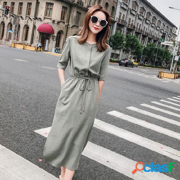 Coton et lin robe femme nouvelle taille était mince tempérament fendue fourche sur la longue chemise jupe