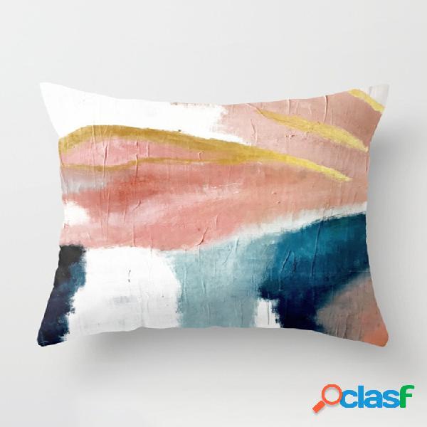 Ins couleur abstraite peint lin coton housse de coussin rebord de fenêtre décor maison canapé taies d'oreiller