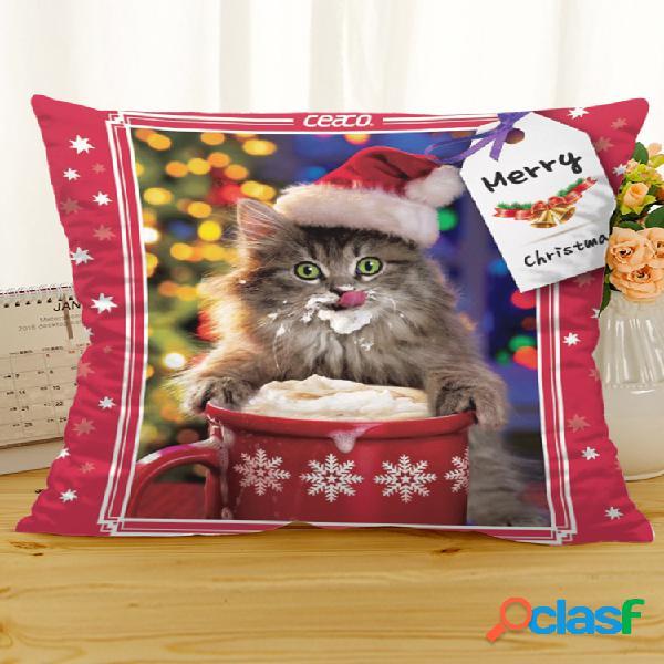 Housse de coussin en lin coton chat rétro noël maison canapé soft taies d'oreiller style rétro art décor