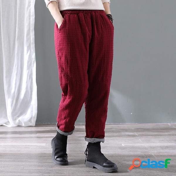 Pantalon en coton matelassé épais en coton et en lin saison des femmes nouveau pantalon décontracté aux pieds chauds