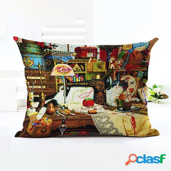Style rétro chats lin coton housse de coussin maison canapé art décor jeter taie d'oreiller