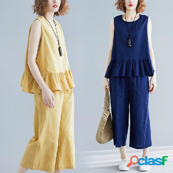 Coton et lin de grande taille pour femmes ensemble lin fat mm gilet de vieillissement plissé pantalon à jambe large deux pièces