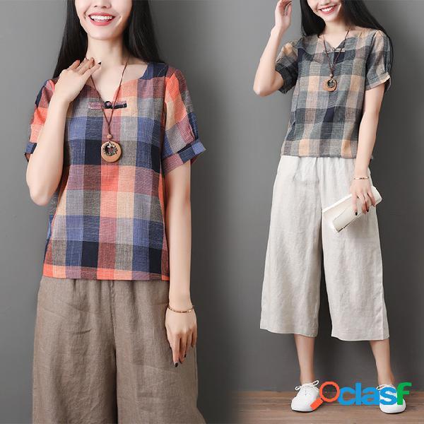 Coton et lin littéraires pour femmes en vrac mince mince t-shirt à manches courtes à carreaux occasionnels top