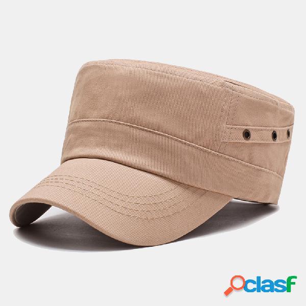 Casquette militaire simple de couleur unie pour hommes nouvelle casquette plate en coton de haute qualité pour hommes