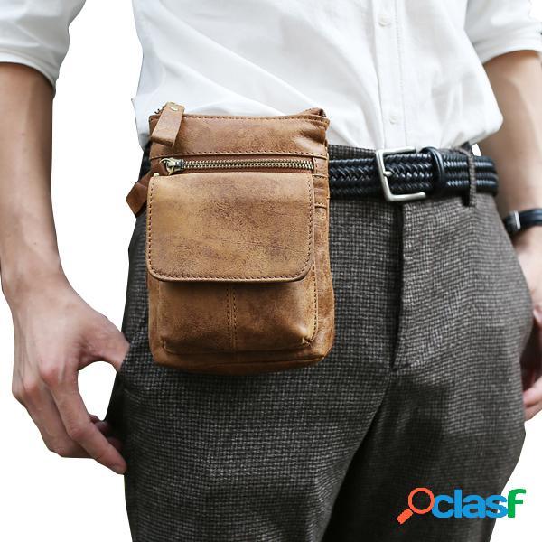 Sac bandoulière cuir véritable pochette ceinture loisir rétro à téléphone pour homme