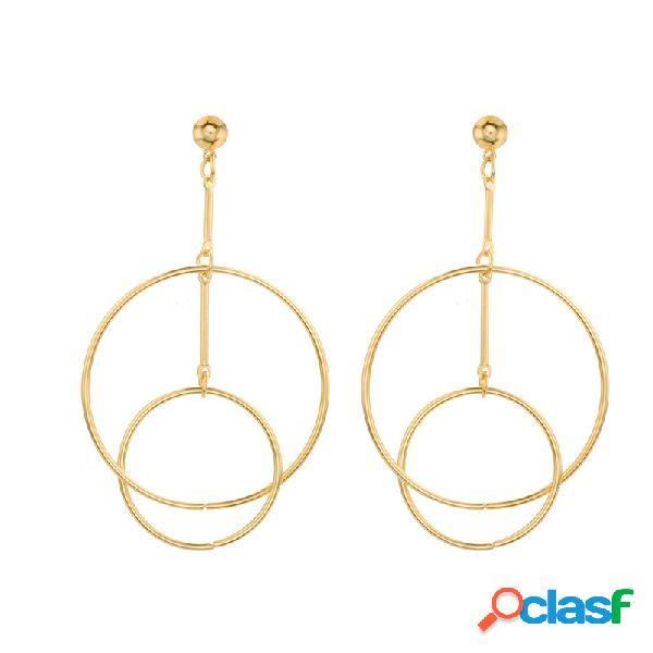 Mode oreille goutte boucles d'oreilles creuses cercle double combinaison cerceau boucles d'oreilles bijoux pour les femmes